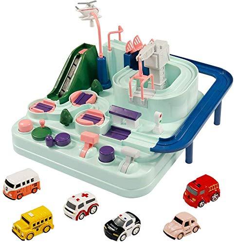 Toys Car Adventure Track Racer Set Juego de Mesa de operación Manual con 6 Autos Juguetes para niños para niños AB 3
