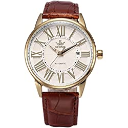 AMPM24 White Dial Automatic Mechanical Date Gold Case Leather Strap Men's Wrist Watch + AMPM24 Gift Box PMW285