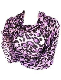 Long Light Crinkled Scarf Wrap Leopard Animal Print Sheer