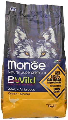 Monge Bwild Cane Adult Struzzo kg. 2 Cibo Secco Senza Cereali per Cani, Multicolore, Unica