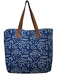 Handicraftworld 100% Pure Cotton Eco Friendly White Design Printed Blue Tote Bag For Women