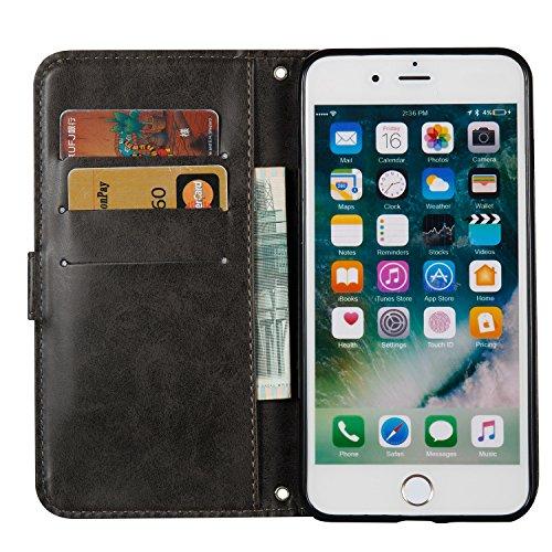 Custodia iPhone 7 Plus, ISAKEN Custodia iPhone 7 Plus, iPhone 7 Plus Flip Cover con Strap, Elegante borsa Cranio Design in Sintetica Ecopelle Sbalzato PU Pelle Protettiva Portafoglio Case Cover per Ap Cranio: nero