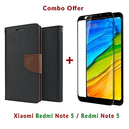 Like It Grab It Xiaomi Redmi Note 5 / mi redmi note 5 / Redmi Note 5 (COMBO OFFER) Flip Cover Case Wallet Style ( Black : Brown ) 2.5D curved 3D Edge to Edge Tempered Glass Mobile Screen Protector (Brown-Black)