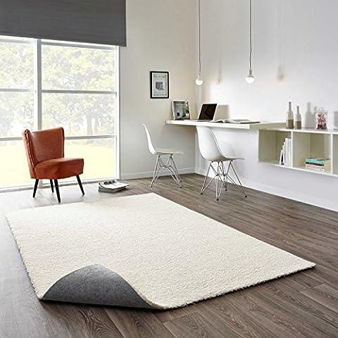 Komfort Shaggy Teppich Happy Wash Weiß nach Maß / waschbar, trocknergeeignet und pflegeleicht / schadstoffgeprüft, antistatisch, strapazierfähig, schmutzabweisend / für Wohnzimmer, Schlafzimmer, Bad, Größe Auswählen:140 x 200