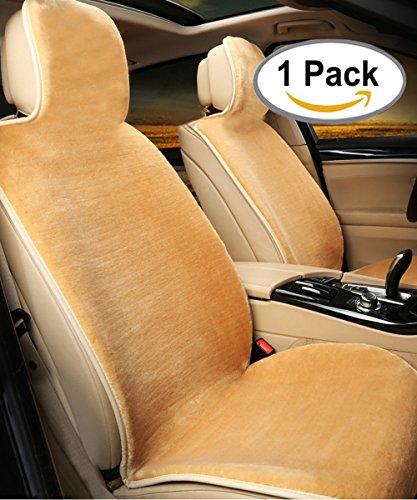 Schaffell Sitzbezug, rutschfeste Sitzschutzhülle mit Schaumstoff von hoher Dichte für Rückprallelastizität, universell passend für alle Fahrzeuge mit oder ohne Airbag, LKW, Geländewagen oder Lieferwagen, einteilig