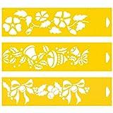 30cm x 8cm (Juego de 3) Stencil Plantilla Plástico Reutilizable para Decoración Pasteles Paredes Tela Muebles Manualidades Arte Artesanía Diseno Gráfico Dibujo Técnico - Hojas Flores Bells Cinta Navidad