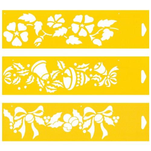 (Satz von 3) 30cm x 8cm Flexibel Kunststoff Universal Schablone - Textil Kuchen Wand Airbrush Möbel Dekor Dekorative Muster Torte Design Technisches Zeichnen Zeichenschablone Wandschablone Kuchenschablone - Blumen Blätter Glocken - Vinyl-grafik-band