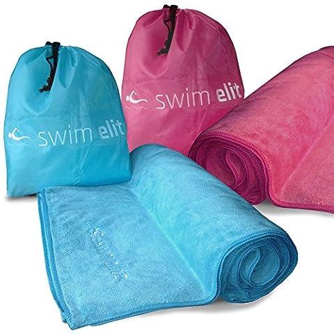 Swim Elite XXL Bain en Peluche en Microfibre serviette de bain & Gym avec un sac - Séchage rapide et compact pour camping / plage / Yoga / Swimming (Aqua, Adult/Swim/Beach (200x100cm))
