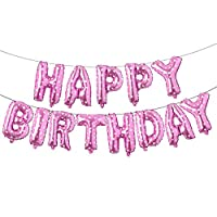 Happy Birthday Balloons, Aluminum Foil Banner Balloons for Birthday Party Decorations and Supplies (Pink Heart)