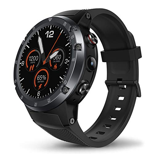 Smart Watch mit Touchscreen mit 5,0 MP Kamera, 1,4 Zoll 1 + 16 GB Bluetooth Sport Smart Watch für Android iOS, 4G LTE GPS Laufen Herzfrequenz Activity Tracker, grau Hybrid-navigation