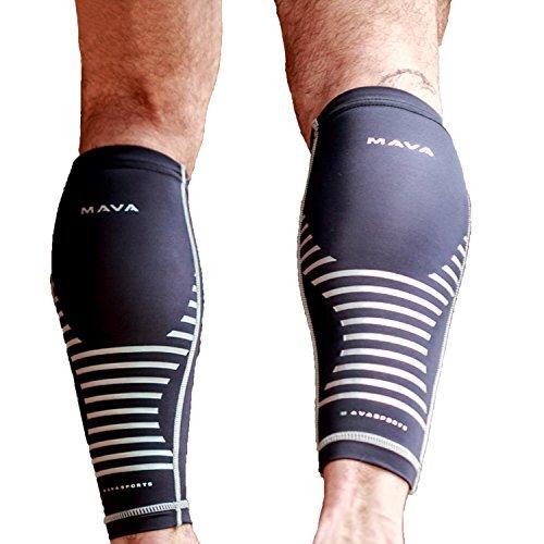 Mava Sport Vitello Maniche Compressione (Coppia), gamba Scaldamuscoli a Compressione per corridori, per uomo e donna, coppia, unisex, Black, S