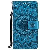 Sony Xperia Z3 Hülle, Chreey [Prägung Indische Sonne] Lederhülle Sonnen Blume Brieftasche Wallet Tasche Magnet Flip Case Handyhülle Etui mit Kartenfach Ständer [Blau]