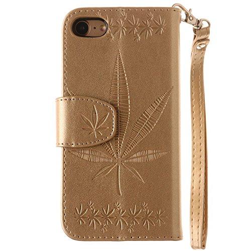 iPhone Case Cover IPhone 7 Fall-Abdeckung, doppelte seitliche Prägung Blumen-Qualitäts-Schlag-Standplatz PU-lederner Kasten mit Abzuglinie-Mappe u. Karte Bargeldschlitze für IPhone 7 ( Color : Gray ,  Gold