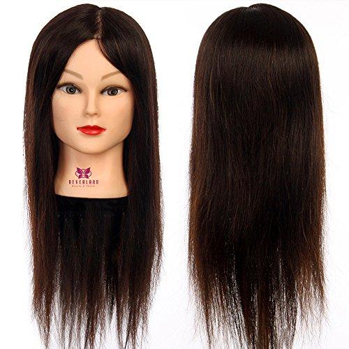 Neverland Professionnel Tête d'exercice 100 cheveux humains Tête à coiffer professionnelle Cosmétologie Mannequin Head 45cm noir
