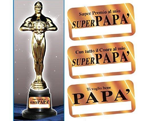 Trofeo papa' - premio oscar in plastica h 29 cm, gadget idea regalo per la festa del papà