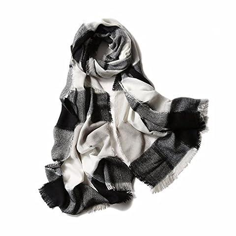 yall Écharpe Laine Artistique Chers Plaid Tricot Épaississement Serviette Longue De L'Automne Et En Hiver, Noir, 70*230 Cm