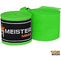 """Meister Junior - Vendaje elástico de algodón para artes marciales mixtas (AMM) y boxeo, 274,3 cm (un par), Infantil, color verde neón, tamaño 108"""" x 2"""" - Junior/Women's Length"""