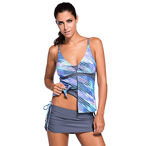 Eagsouni® Damen Tankini Bikini Set Bademode Badeanzug Gepolstert Ohne Verstärkung zweiteilig Beachwear Two Piece Mit Hotpants Blau