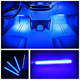 PANNIUZHE 4pcs Car Interior Decoration Atmosphere Light-LED Car Interior Lighting Kit, Waterproof, Interior Atmosphere Neon Decoration Atmosphere Car LED Lighting Kit (Blue)
