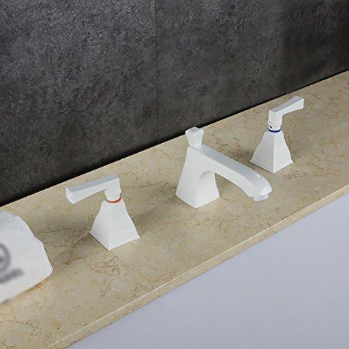 Qzny Messing Split Tap Bad Wasserhahn Weiße Farbe Hot Cold Doppelhebel Toilette Tap Garderobe Hotel Bar Kreative Persönlichkeit Einfache Europäische - Split Bad Bar