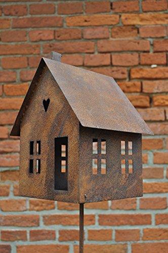 Gerry Vogelhaus Futterstelle Haus zum Stellen Laterne Metall Rost Deko Kerzenhalter Vogel Wildvögel