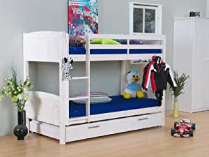 etagenbett 90x190 hochbett bett kiefer massiv wei neu k che haushalt. Black Bedroom Furniture Sets. Home Design Ideas