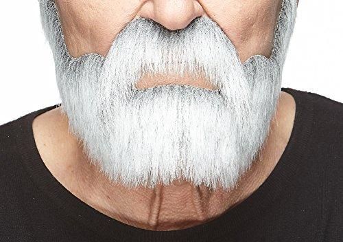 Mustaches Weißer fälschen, selbstklebend Bart und Schnurrbart eines Edelmannes mit grau (Medizinische Witze Halloween)