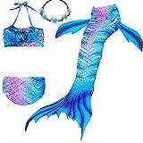 UrbanDesign Traje De Baño Disfraz Cola De Sirena Niña con Bikini para Nadar, 3-4 años, Tierra Azul