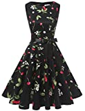 Gardenwed Damen 1950er Vintage Cocktailkleid Rockabilly Retro Schwingen Kleid Faltenrock Black Small Cherry 3XL