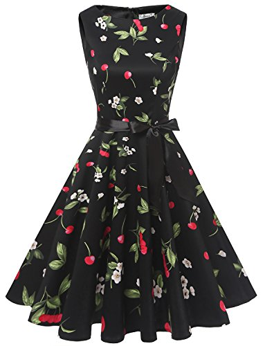 age 1950er Partykleid Rockabilly Ärmellos Retro Cocktailkleid Black Small Cherry S (Petticoat Kleid)