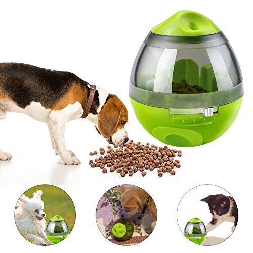 Yokunat Bola dispensadora de comida interactiva para perros y gatos (verde)