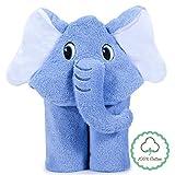 Momcozy Toalla con Capucha de Baño para Bebés con Lindo Diseño de Elefante, 100% Algodón, Perfecta para Bañar a Tu Bebé, 75 x 75 cm, de Edades de 0-3 Años