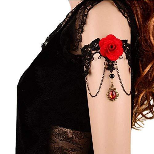CESHUMD Joyas Gothic Mujer Colgante Pulsera Vintage Brillantes Rose Punta Gótico Choker Victoriano Boda Novia Collar Pulsera