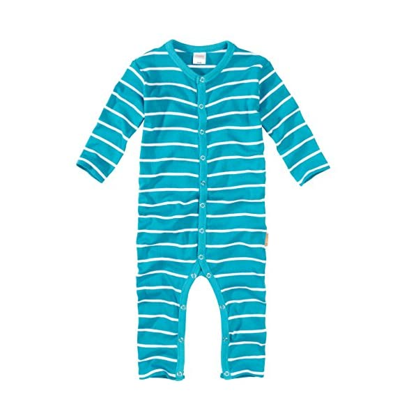WELLYOU, Pijamas, Pijamas para niños y niñas, una Pieza de Manga Larga, niños pequeños, Color Azul Turquesa con Rayas… 1