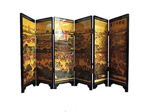 iFireFly 6 Paneles de Pintura de Laca pequeña Plegable para decoración de la Pantalla del hogar o como un Regalo Todos los ríos corren al mar