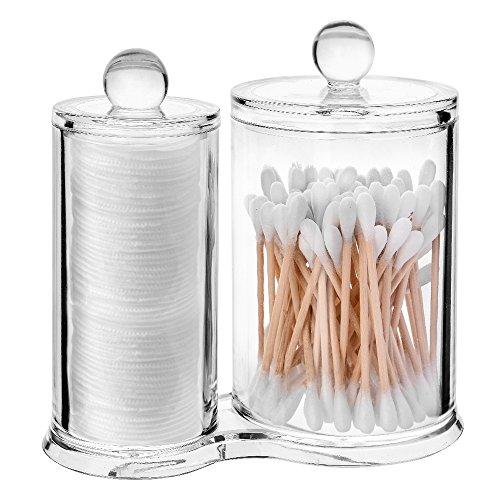 Cotone scatola portaoggetti, asiv acrilico di alta qualità batuffolo di cotone trasparente holder organizzatore, tampone con contenitore rotondo per trucco