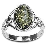 Grüner Bernstein Sterling Silber Keltisch Ring