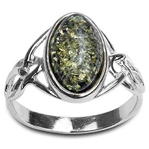 Grüner Bernstein Sterling Silber Keltisch Ring -