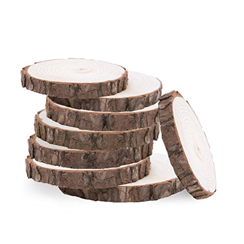 VORCOOL Dischi in Legno Rotondi Fette Tronco Legno Dischetti Legno Grezzo Rondelle di Legno per Decorazione Bricolage 8-10cm 20 Pezzi