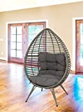 Lesli Living Korbsessel Chill Gris in Eiform mit Kissen Relaxstuhl Gartenmöbel Schwebesessel Cocoon Chair grau