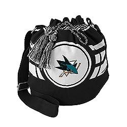 NHL San Jose Sharks Womens NHL Ripple Drawstring Bucket Bag, black, 12