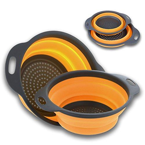 Faltbarer Seiher VOOA,Küche zusammenklappbarer Silikon Seiher Faltkorb, kreativer Food Grade Multifunktions-Sieb für Gemüse Obst, Spülmaschine Safe Outdoor Travel,2 Größe Einschließlich 8 Und 9,5 Zoll (Orange)