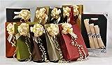 Set emballage cadeaux. Kit sacs Papier Paille 100gr Poignée haricot résistant + rubans Strip