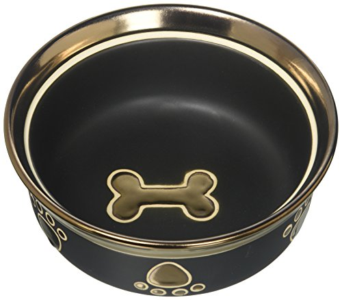 Ethische Steingut Dish 688826 7 in. Ritz Copper Rim Dog Dish - Schwarz