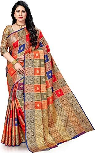 Woven, Checkered Patola Raw Silk, Poly Silk Saree (Dark Blue, Red, Orange)