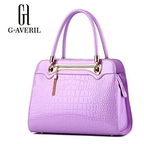 (G-AVERIL) Borse In Pelle Designer Top-Handle Spalla Del Tote Della Borsa Per Le Donne viola