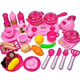 YAKOK 33 Stück Plastik Kinderküche Geschirr Kochgeschirr Kinder Kochutensilien Kinderküche Küchenspielzeug für Kinder 3-7 Jahre (Rosa)