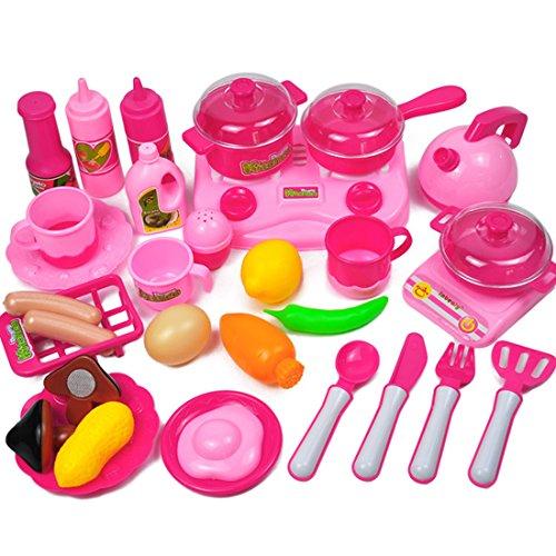 ANNA SHOP 33 Stück Mädchen Küchenspielzeug für Kinderküche Kochgeschirr Kochset Kinder -