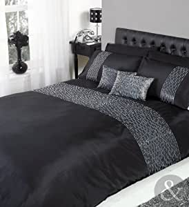 just contempo parure de lit avec housse de couette deux personnes en satin brod de sequins noir. Black Bedroom Furniture Sets. Home Design Ideas