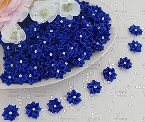 Royal Blue 25mm Satin Ribbon Flowers with Rhinestone Diamante Centre, Craft Flowers (10)